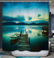 Blue Green Boat Dock Shower Curtain Lake Cabin Lodge Fishing Wood Bridge