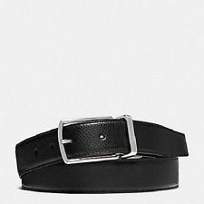 New Coach F64826 Modern Harness Cut-To-Size Reversible Textured Leather Belt Blk