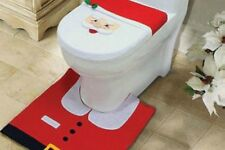 Brand New 3 Piece Santa Christmas Toilet Seat Cover Mat and Tank Set