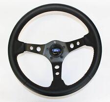 "Galaxie Torino Maverick LTD Steering Wheel 14"" Black Carbon Fiber Look Ford Cap"