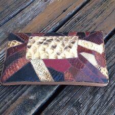 Vintage 70s Original By Caprice Brown Leather Snakeskin Purse Clutch Handbag