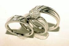 Gold & Diamond Trio Bridal Ring Wedding & Engegement Ladies & Men Set Brand New