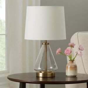 """Mainstays Glass with Brass Base Table Lamp, 18"""" H"""