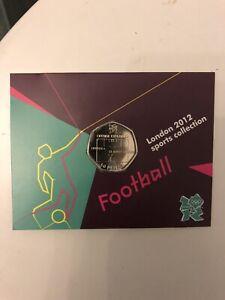 Football Olympic 50p BNUC - Offside Rule Explained, Coin On Card