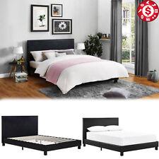Platform Bed Frame Queen Size Wooden Slats Headboard Black Upholstered Bedroom