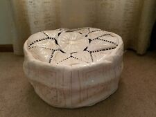 Moroccan natural leather pouf