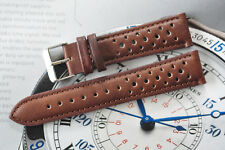20mm European Hand-Made Rally Racing Quality Leather Watch Strap Dark Brown Band