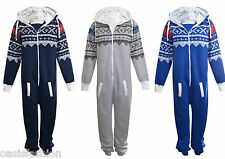 UNISEX MENS PLAIN AZTEC PRINT ONESIE1 ZIP  ALL IN ONE HOODED JUMPSUIT SIZE S 3XL