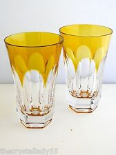 AJKA LYNN LAUSANNE AMBER GOLD CASED CUT TO CLEAR HIGHBALL WATER COLLINS Set of 2