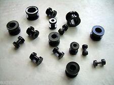 """12g 8g 6g 4g 2g 0g 00g 1/2"""" 1 Pair Black Acrylic Screw Ear Plug Tunnels"""