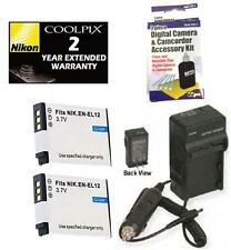 2 Batteries + Charger + Warranty for Nikon S70 S1000pj S1100pj S1200PJ S6000 S31
