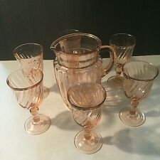 Vintage Fostoria Pink Depression Glass Pitcher and 6 Stemmed Glasses