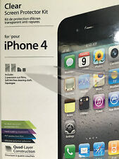 New clear screen protector x 2 iPhone 4 iLuv brand lint free cloth squeegee incl