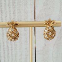 Vintage Avon Pineapple Sothern Hospitality Rhinestone Gold Tone Stud Earrings