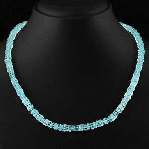 WOMEN JEWELLERY 148.45 CTS NATURAL RICH BLUE AQUAMARINE UNTREATED BEADS NECKLACE