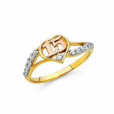 14k Two Tone Gold CZ 15 Anos Ring Band