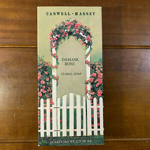 New 3 Caswell Massey Damask Rose Floral Bar Soap 3.25 oz Each