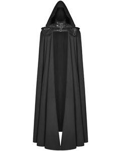 Punk Rave Mens Gothic 2 Piece Hooded Cloak Coat Long Black Dieselpunk Cape LARP