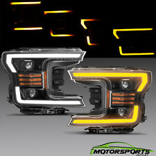 For 2018 2019 Ford F150 Projector Polished Black Headlights w/LED Sequential/DRL