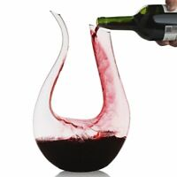 1500ml Lead-free U Shaped Crystal Glass Red Wine Decanter Carafe for Home Bar