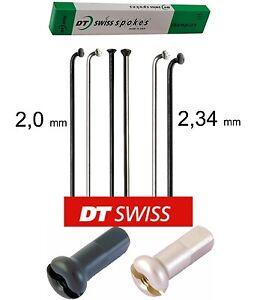 4 X DT-Swiss Champion 162 mm 2,0/2,34 mm Dritto Strappo/J-Bend Nero/Argento