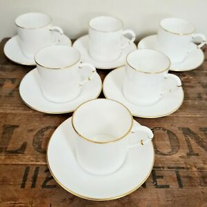 6 x Vintage Royal Worcester White Demitasse Coffee Cups & Saucers 1960's