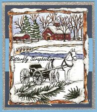 WINTER HORSE & BUGGY SNOW SCENE Wood Mounted Rubber Stamp NORTHWOODS P10348 New