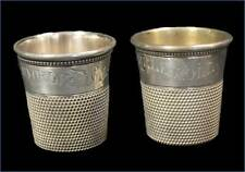 "2 Antique Sterling Silver Thimble Bar Shot Glasses ""Only A Thimble Full"" in Case"