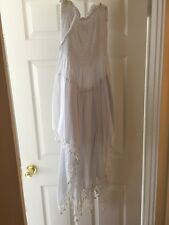 Long ONE SIZE White Maxi Sun Dress Jumper Rayon Spandex Spaghetti Strap Loose