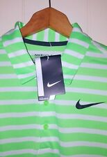 Nike Golf Flyknit Polo Shirt Men Size Large NEW Green & White Stripe