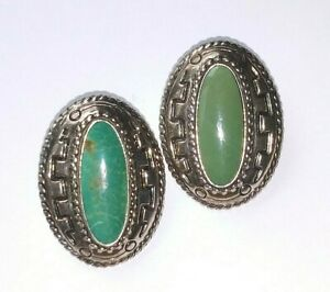 ! Vintage Carolyn Pollack Relios 925 Sterling & Turquoise Oval Stud Earrings