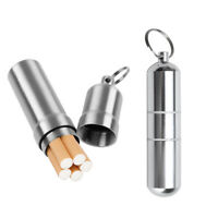 Stainless Steel Sealed Cigarette Tobacco Case Holder Pocket Box Key Chain Silver