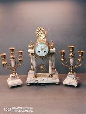 Pendule Portique et chandeliers Marbre Et Bronze