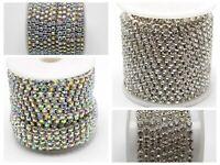 10Yards SS16 Silver Rainbow Crystal Rhinestone Close Chain Trim For Bridal Weddi