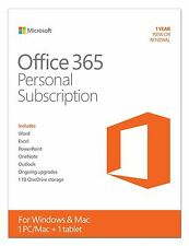 Microsoft Office 365 Personal Word Excel PowerPoint Outlook Access 1PC/Mac 1Year