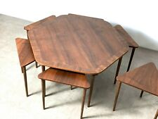 Rare Vintage Mid Century Danish Modern Hexagon Coffee Table Nesting Stacking Set