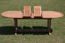 """9-Pc Outdoor Teak Dining Set: 117"""" Masc Oval Extn Table, 8 Stacking Chairs Lua"""