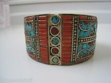 New Solid vintage Genuine turquoise sea coral Bangle Nepal Cuff  Bangle Bracelet