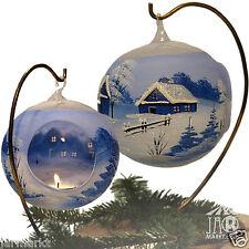 Bola de Tealight Luz Té luminosa 12cm Azul Cristal Navidad Soporte