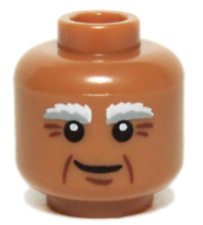 LEGO NEW MEDIUM DARK FLESH MINIFIGURE HEAD WITH BUSHY EYEBROWS GRANDPA PIECE