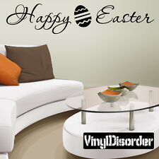 Happy Easter Holiday Vinyl Wall Decal Mural Quotes Words -hd007