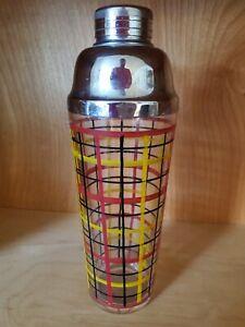 Vintage Mid Century Tartan Stripe Glass Cocktail Shaker w/ Chrome Lid