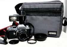 Vintage PENTAX K2 35mm film SLR camera kit with lens, flash & extras
