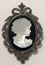 Vintage Sterling Marcasite Mother Of Pearl Cameo Pendant Pin Brooch Sku120840ts