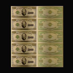 5pcs 1918 Year 5000 Dollar 24k Gold Foil Gold Banknote for Father Souvenir Gift