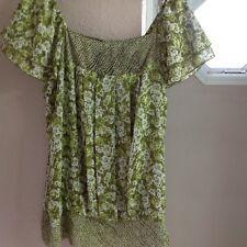 Women's Summery Green Blousan Shirt With Cap Sleeves