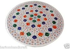 "24"" White Marble Coffee Table Top Rare Mosaic Floral Inlaid Garden Decor H1669"