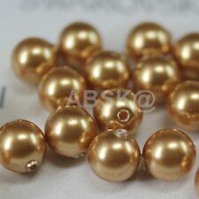 100 pcs Swarovski Element 5810 3mm Round Ball Crystal Pearl Beads - Bright Gold