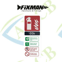 Fixman White Rigid Plastic CO2 Fire Extinguisher Sign Fire Safety