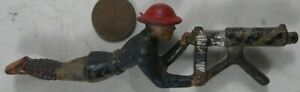 Vintage 1930's Gray Iron Cast Iron Japanese Soldier Laying With Machine Gun